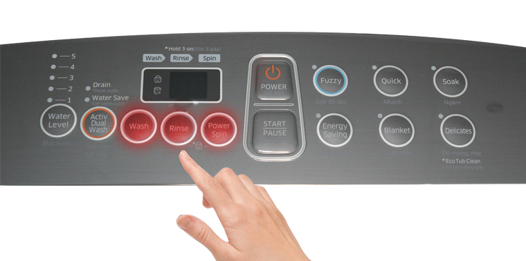 Nhấn các nút Wash/Rins/Spin