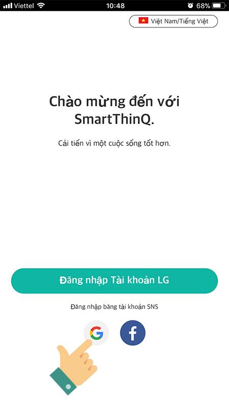 Mở ứng dụng LG SmartThinQ